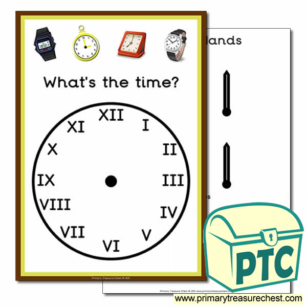 'What's the time' A4 clock poster with Roman Numerals