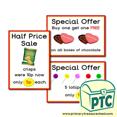Sweet Shop Role Play Special Offers Posters (1-20p)