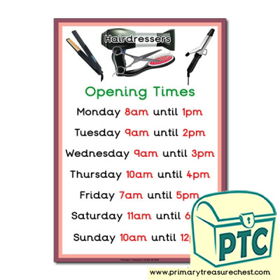 Hairdressers Role Play Opening Times Sign (O'clock times)