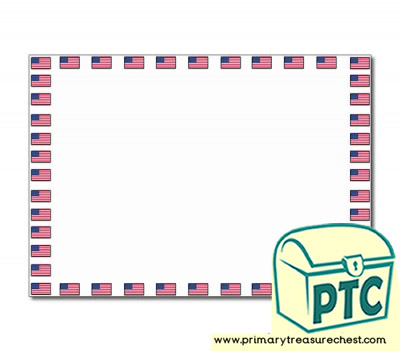 American Flag landscape Page Border/Writing Frame (no lines)