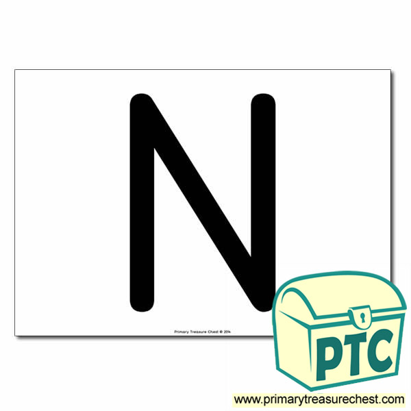 'N' Uppercase Letter A4 poster  (No Images)
