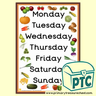 Fruit & Vegetable Days of The Week A3 Poster