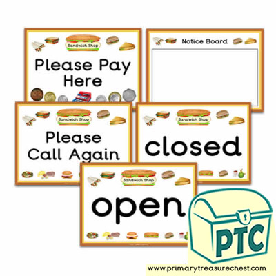 Sandwich Shop Role Play Signs