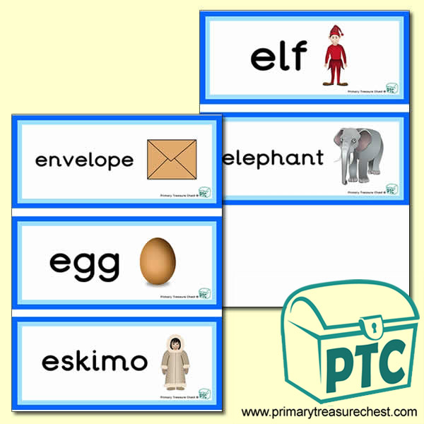 Letter 'e'  Themed Flashcards
