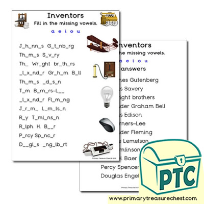 Inventors Themed Missing Vowels Worksheet