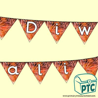 Diwali Bunting with Fireworks Pattern