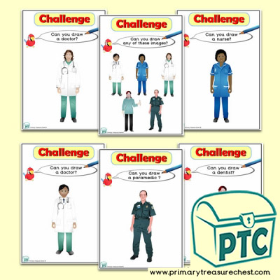 Medical People Who Help Us Themed ICT Challenge Cards