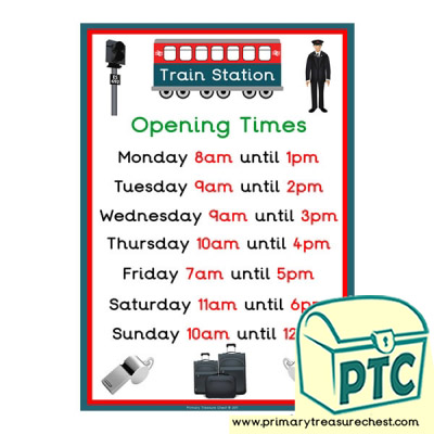 Train Station Role Play Opening Times Poster (O'clock)