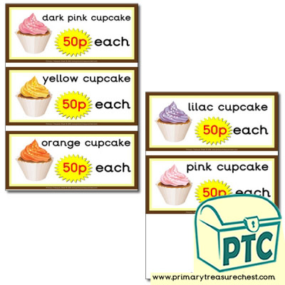 Role Play Cake Shop - Cupcake Prices 21p to £99