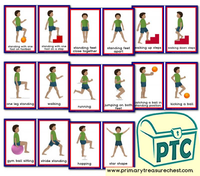 Gross Motor Activities Themed Flashcards - Boy Set Two