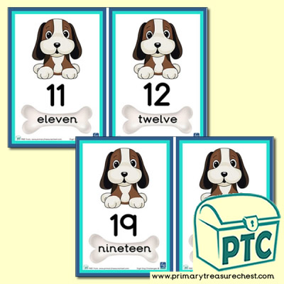 Digit Dog Themed Number Line 11 to 20
