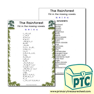 'The Rainforest' Themed Missing Vowels Worksheet