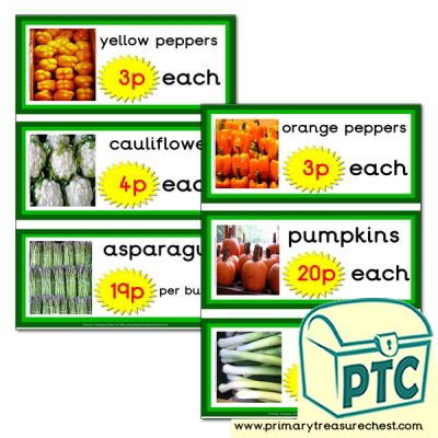 Greengrocers Role Play Vegetable Prices Flashcards (1-20p)