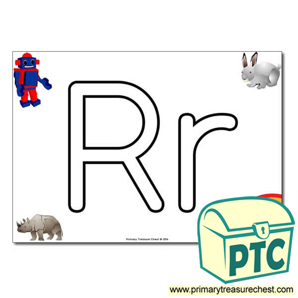 'Rr' Upper and Lowercase Bubble Letters A4 Poster, containing high quality, realistic images