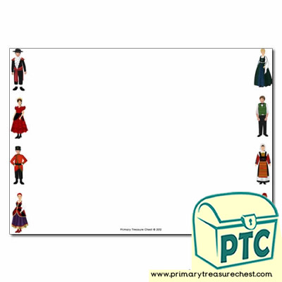 Traditional Costumes Landscape Page Border/Writing Frame (no lines)