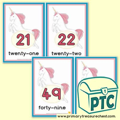 Unicorn Number Line -21-50 (with border) - Serenity the Sweet Dreams Resources