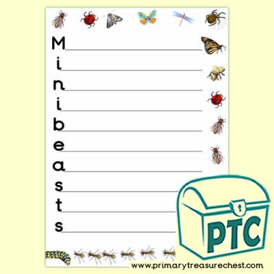 Minibeasts Acrostic Poem Sheet