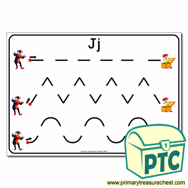 'Jj' Themed Pre-Writing Patterns Activity Sheet