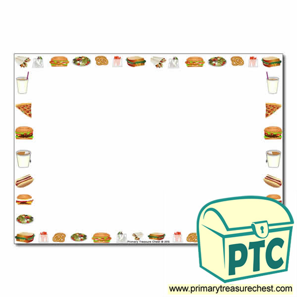 Fast Food Takeaway Themed Landscape Page Border/Writing ...