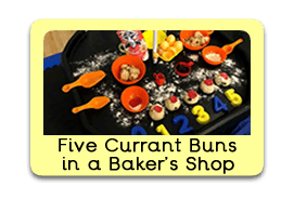 Five Currant Buns Themed Tuff Trays for Toddlers-EYFS Children - Learning Through Play Sessions