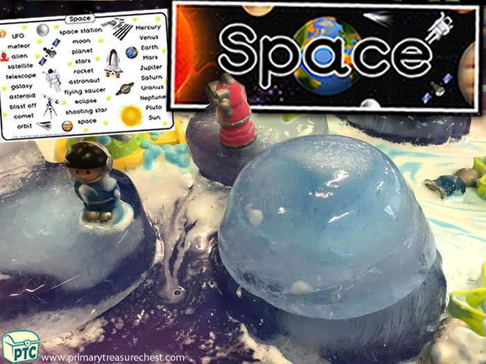 Space Frozen Planet Discovery  -  Role Play Sensory Play - Tuff Tray Ideas Early Years / Nursery / Primary