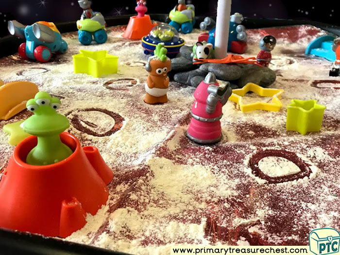 Space - Aliens - Mars - Astronauts - Planet Themed Mark Making Pre-Writing Patterns Letter Formation Multi-sensory Tuff Tray Ideas and Activities