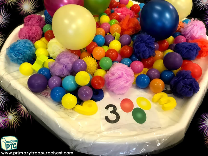 New Year - New Years Eve - Celebrations Themed Numbers - Multi-sensory Balloons - Balls - Sponges Tuff Tray Ideas and Activities