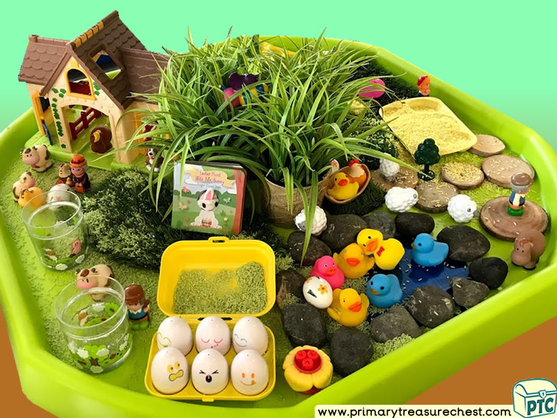Farm Animals - Eggs - Farmer - Farm Themed Small World Multi-sensory Coloured Rice Tuff Tray Ideas and Activities