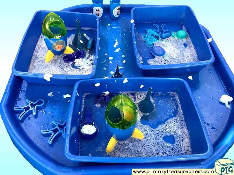 Colour Blue - Colour Recognition - Space Themed Water Multi-sensory Tuff Tray Ideas and Activities