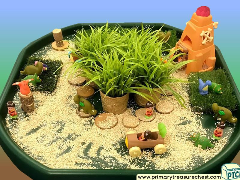 Dinosaur - Caveman Themed Small World Multi-sensory - Cereals Tuff Tray Ideas and Activities