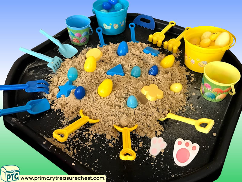 Easter - Easter Bunny - Eggs Themed Sand Multi-sensory Tuff Tray Ideas and Activities