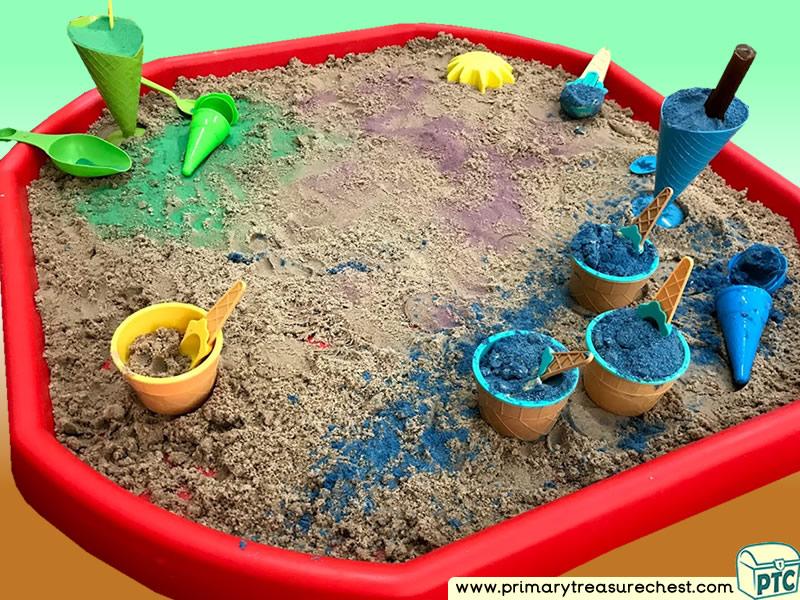Food - Italian Foods - Ice Cream Themed Multi-sensory Sand Tuff Tray Ideas and Activities