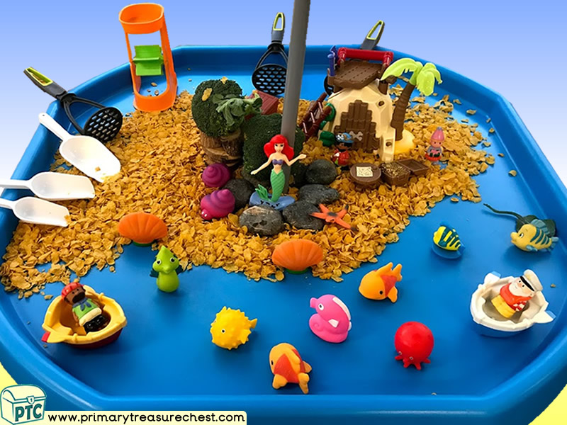 Pirates - Pirate Island Themed Small World Multi-sensory - Cereal Tray Ideas and Activities