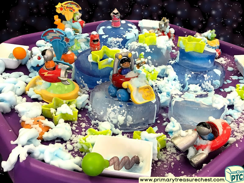 Space - Astronaut - Alien Themed Small World Multi-sensory Ice - Mouldable Soap Tuff Tray Ideas and Activities