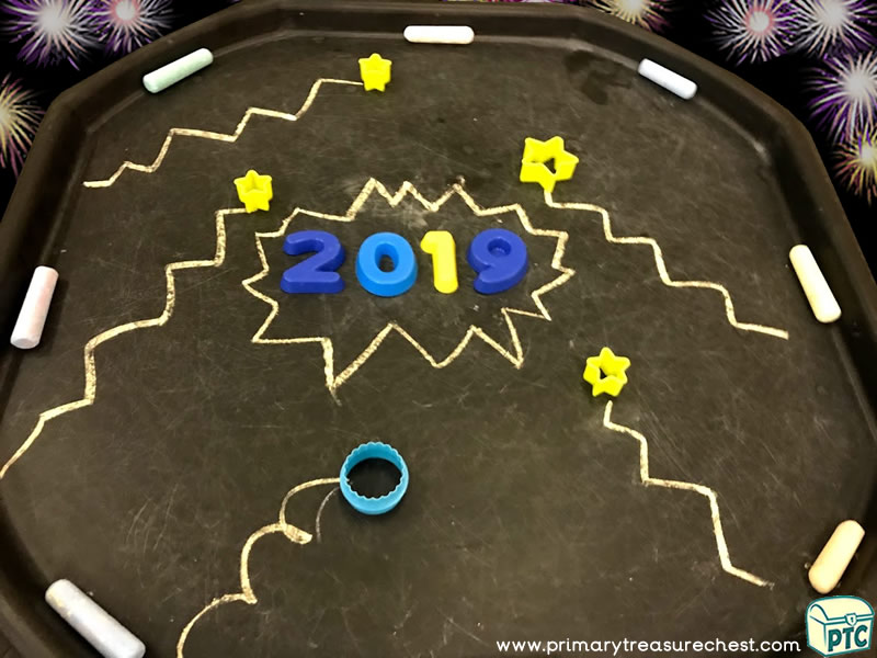 New Year - New Years Eve - Celebrations Themed Numbers and Shapes - Mark Making Multi-sensory Jumbo Chalks Tuff Tray Ideas and Activities