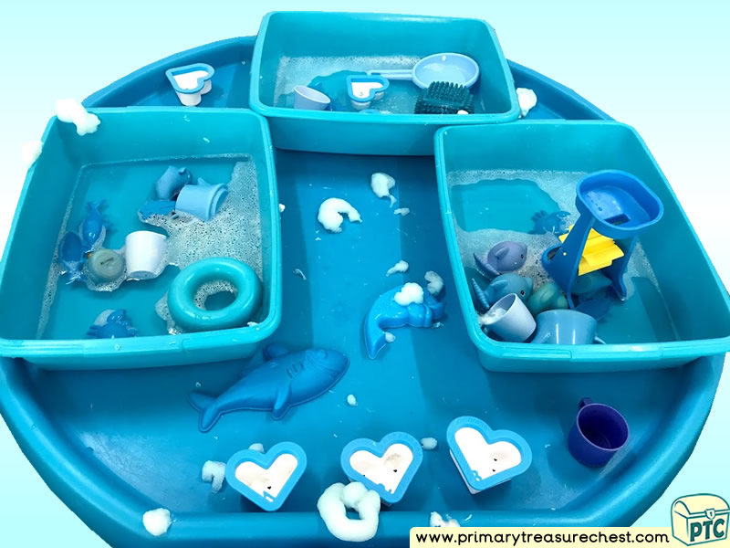 Colour Blue - Colour Recognition Under The Sea Themed Water Multi-sensory Tuff Tray Ideas and Activities