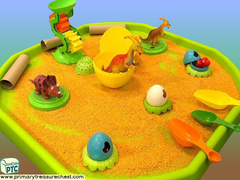 Dinosaur - Caveman - Dinosaur Egg Themed Small World Multi-sensory - Coloured Rice Tuff Tray Ideas and Activities