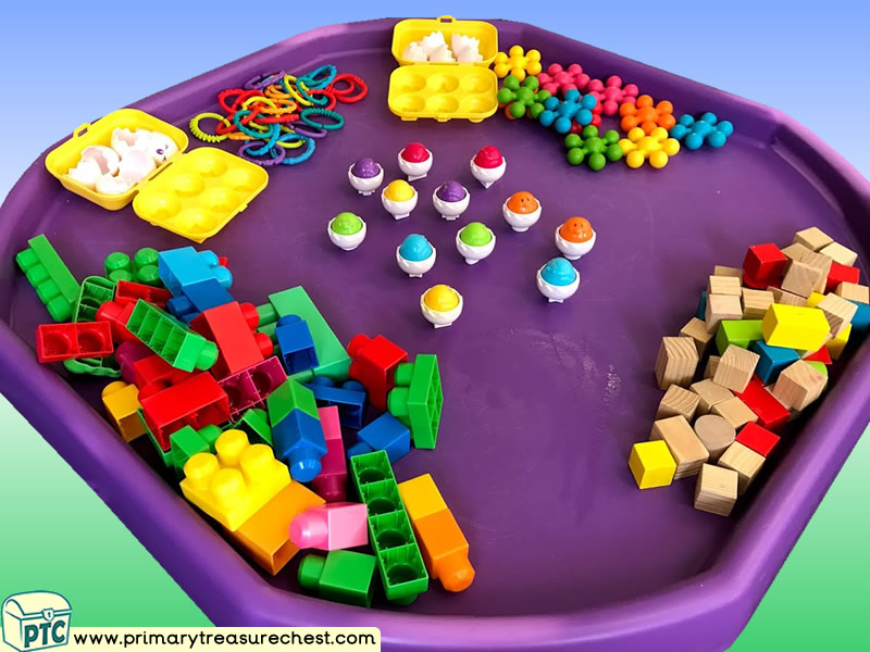 Eggs - Easter- Themed Construction Multi-sensory Tuff Tray Ideas and Activities