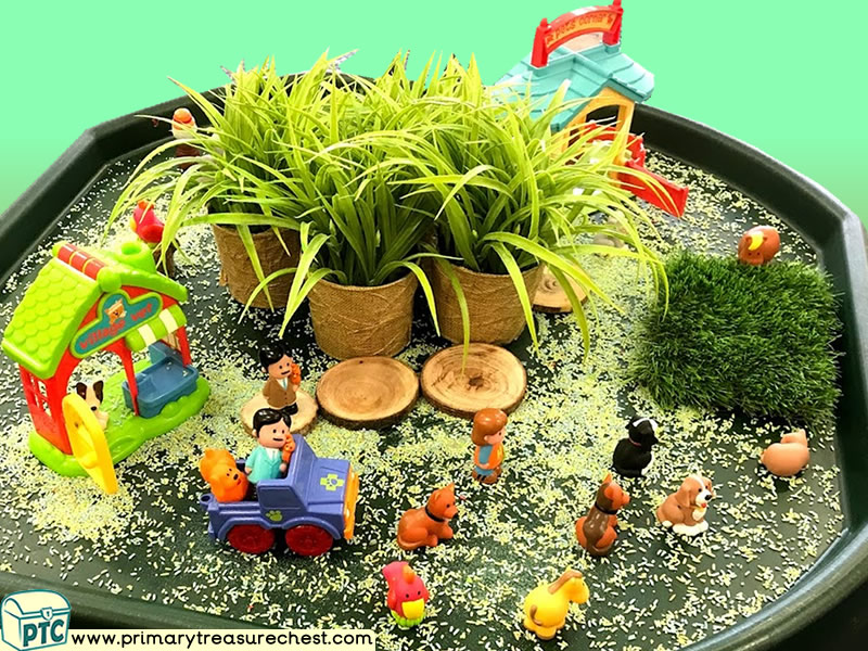 Farm Animals - Farmer - Farm Themed Small World Multi-sensory Coloured Rice Tuff Tray Ideas and Activities