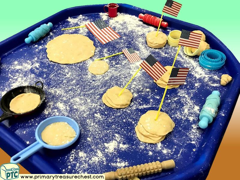 American Food - Pancake Themed Playdough Multi-sensory Tuff Tray Ideas and Activities