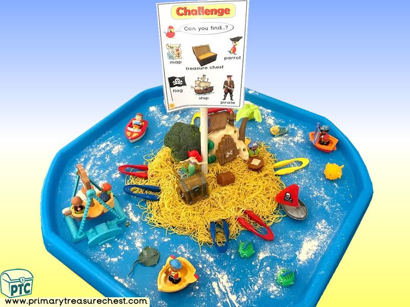 Pirates - Pirate Island Themed Small World Multi-sensory - Spaghetti Tuff Tray Ideas and Activities