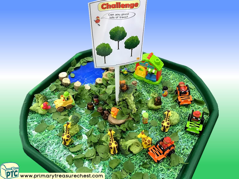 Trees - Safari Themed Small World Play Multi-sensory - Leaves Tuff Tray Ideas and Activities