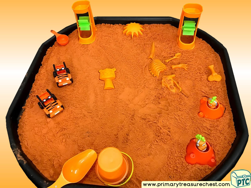 Colour Orange - Colour Recognition Themed - Small world toys Multi-sensory - Sand Tuff Tray Ideas and Activities
