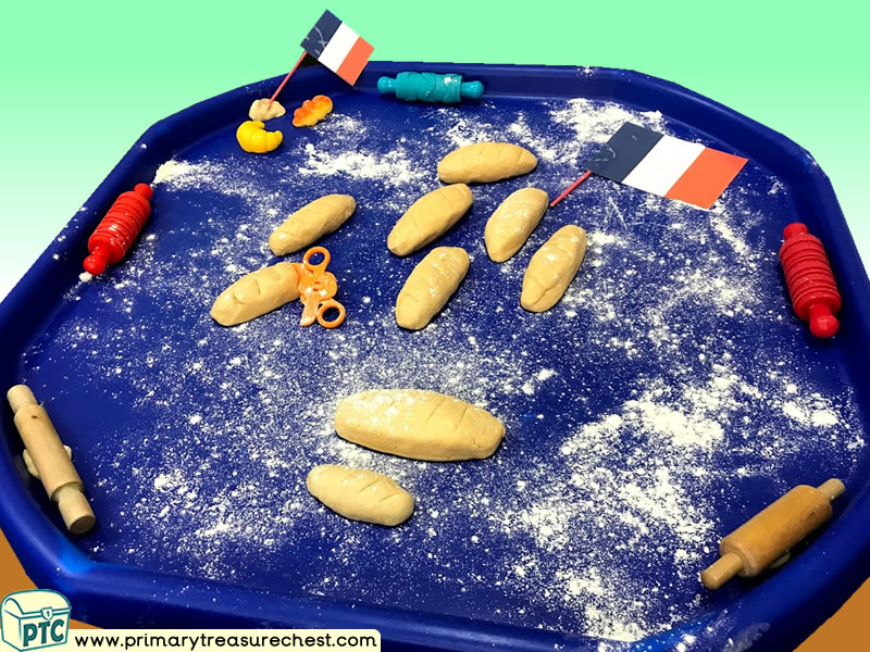 French Food - Bread - Baguette Themed Playdough Multi-sensory Tuff Tray Ideas and Activities