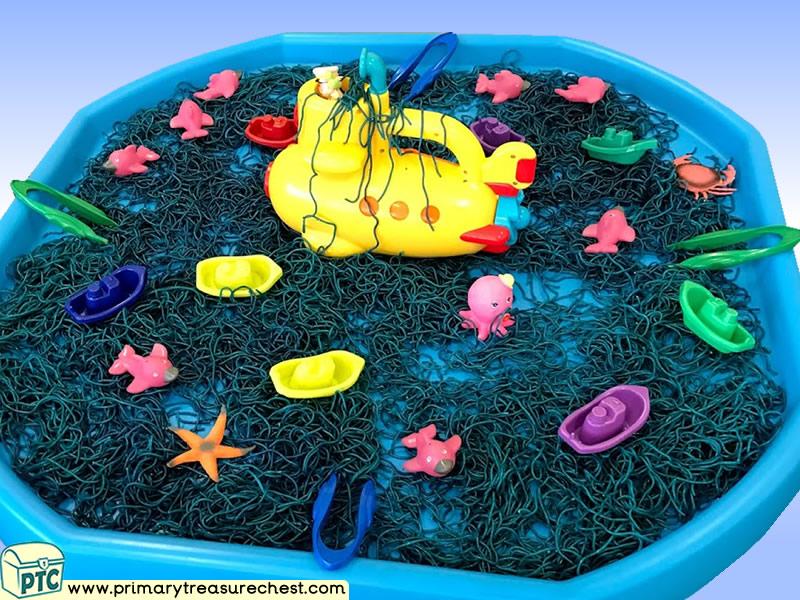Sea life - Under the Sea - Submarine Themed Small World - Multi-sensory - Coloured Spaghetti Tuff Tray Ideas and Activities