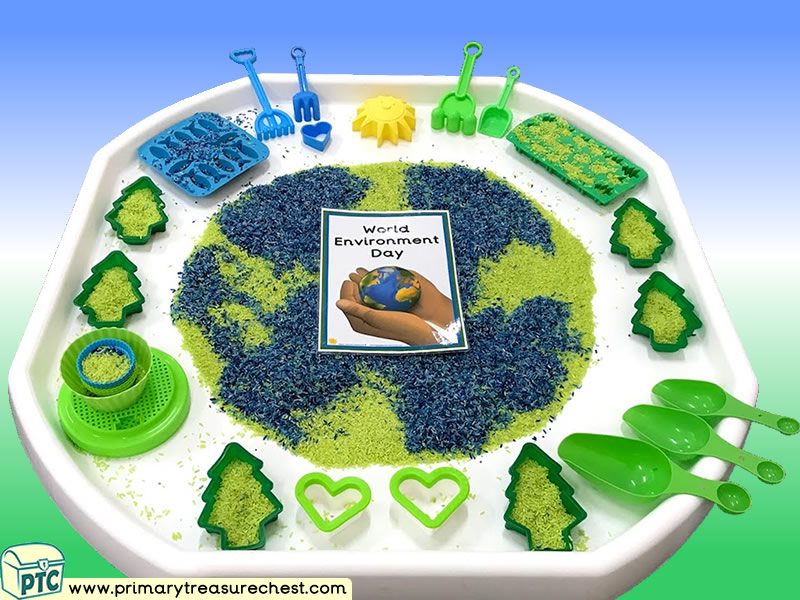 Our World - World Environment Day Themed Small World Play Multi-sensory - Coloured Rice Tuff Tray Ideas and Activities