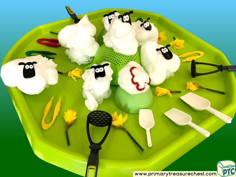Wales - Saint David's Day - Dydd Santes Dwynwen - Sheep Themed Discovery Multi-sensory Mouldable Soap Tuff Tray Ideas and Activities
