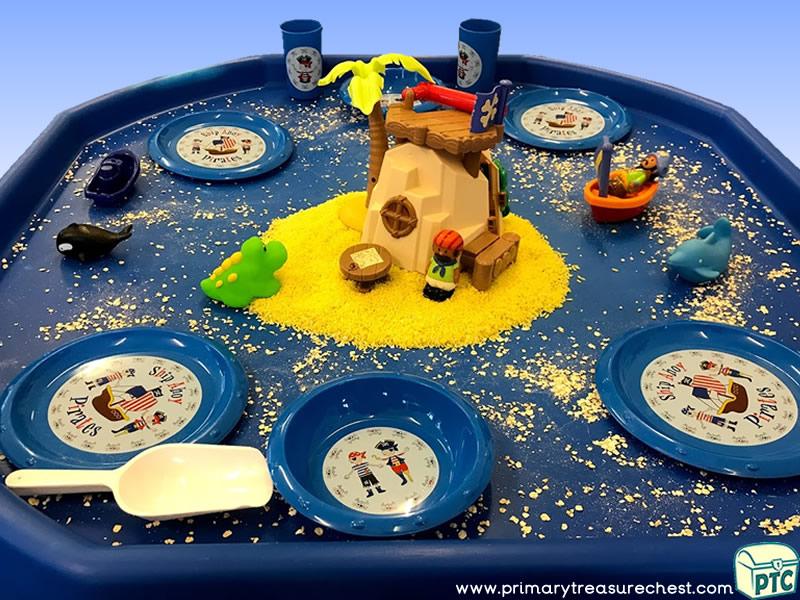 Pirates - Pirate Island Themed Small World Multi-sensory - Coloured Rice Tuff Tray Ideas and Activities