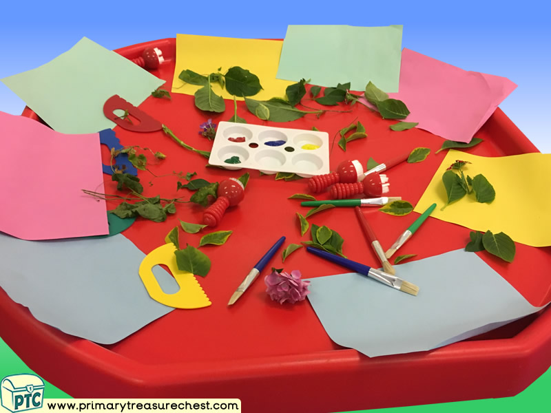 Our World - Leaves Themed Creative Multi-sensory - Poster Paints Tuff Tray Ideas and Activities