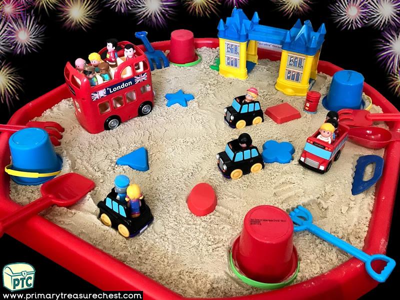 New Year - London - New Years Eve - Celebrations Themed Small World - Multi-sensory Sand Tuff Tray Ideas and Activities